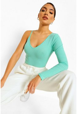Jade green One Shoulder Rib Knit Bodysuit