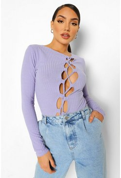 Lilac purple Asymmetric Lace Up Rib Knit Top