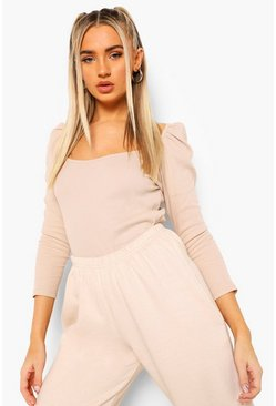 Camel beige Rib Puff Sleeve Top