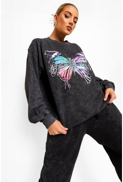 Charcoal grey Acid Wash Butterfly Print Sweatshirt