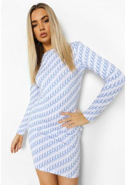 Blue Monogram Print Long Sleeve Mini Dress