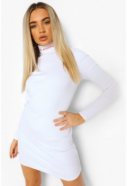 White Embroidered Roll Neck Mini Dress