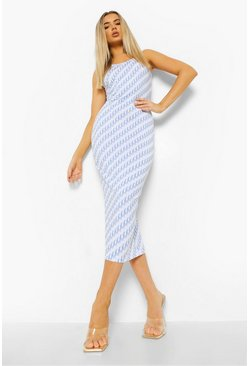 Blue Monogram Sleeveless Midaxi Dress