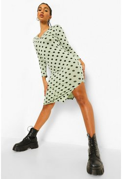 Sage green Polka Dot Split V Neck Midi Dress