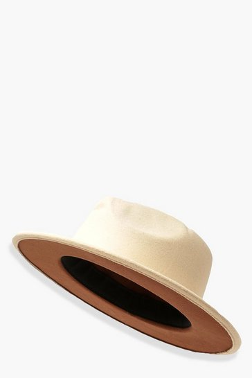 Cream white Chocolate Under Trim Fedora