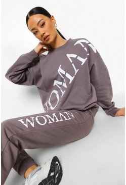Charcoal grey Woman Roman Across Print Oversized Sweatshirt