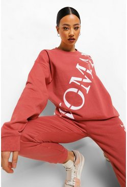 Rose pink Woman Oversized Sweater Met Tekst