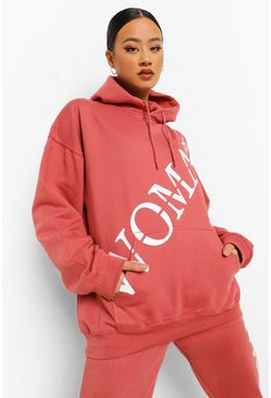 Rose pink Woman Roman Across Print Oversized Hoodie