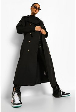 Black Oversized Woven Belted Trench Coat