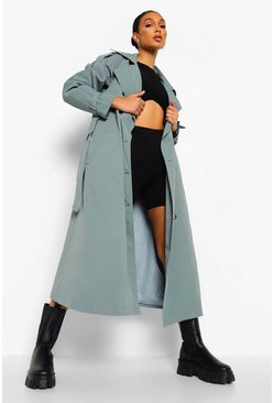 Sage green Oversized Woven Belted Trench Coat