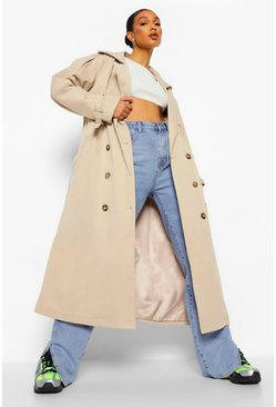 Stone beige Oversized Woven Belted Trench Coat