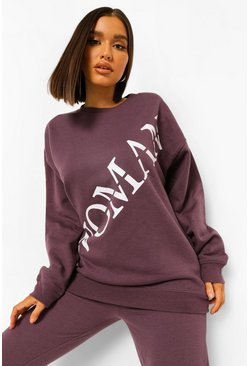 Violet purple Woman Roman Across Print Oversized Sweatshirt