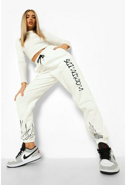 Ecru white Worldwide Graffiti Print Joggers