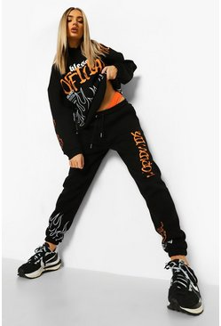 Black Official Graffiti Hooded Tracksuit