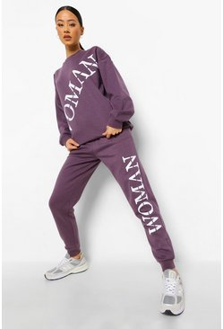 Violet purple Woman Roman Side Print Joggers