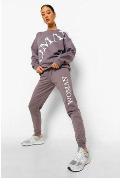 Charcoal grey Woman Roman Side Print Joggers