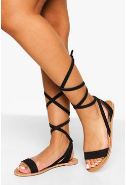 Black Leather Wrap Up Strappy Sandals
