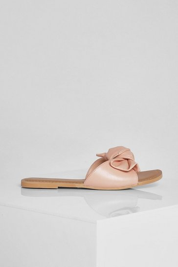 Pink Leather Bow Detail Sliders