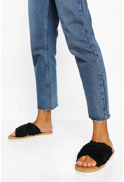Black Wide Fit Canvas Cross Strap Espadrile Slider