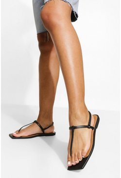 Black Leather Square Toe Basic Sandals