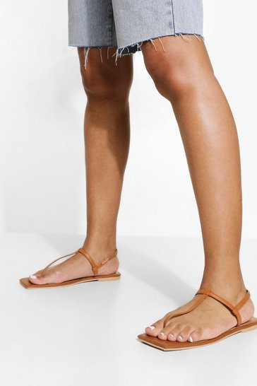 Tan brown Leather Square Toe Basic Sandals
