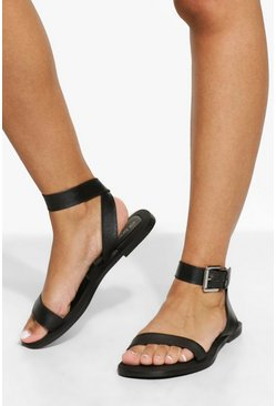 Black Wide Fit Leather Square Toe Buckle Sandal