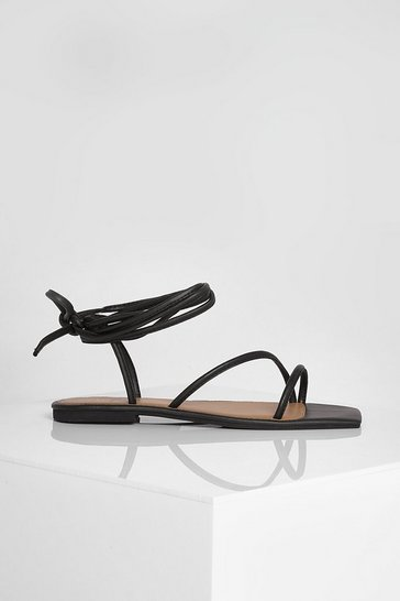 Black Wide Fit Leather Square Toe Wrap Up Sandals