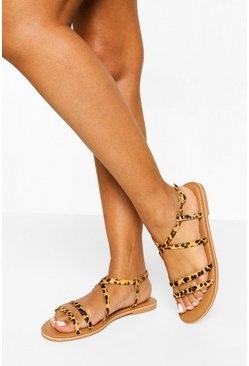 Leopard multi Wide Fit Leather Multi Strap Sandals