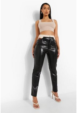 Black Contrast Pocket Leather Look Trouser