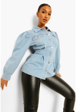 Light blue blue Cinched Oversized Denim Shirt