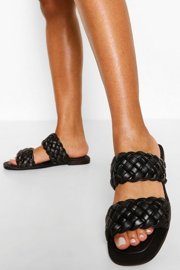 Black Wide Fit Leather Woven Double Strap Slider