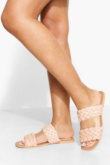 Blush pink Leather Woven Double Strap Slider