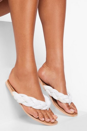 White Leather Woven Strap Flip Flops