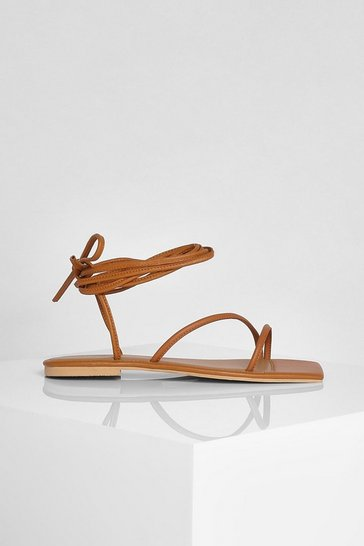 Tan brown Leather Square Toe Wrap Up Sandals