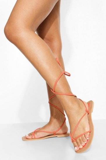 Orange Leather Toe Post Wrap Up Strappy Sandals