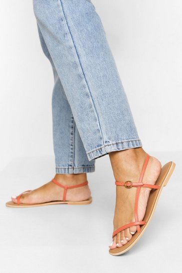 Coral pink Leather Skinny Strap Sandals