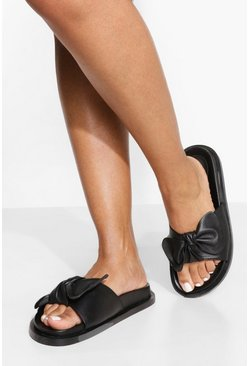 Black Wide Fit Leather Bow Detail Footbed Slider