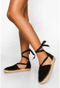 Black Wrap Up Espadrille