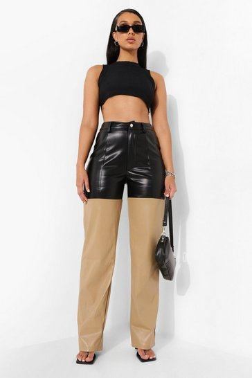 Black Colour Block Leather Look Trouser
