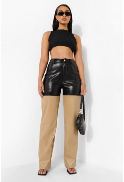 Colour Block Leather Look Trouser , Black Чёрный