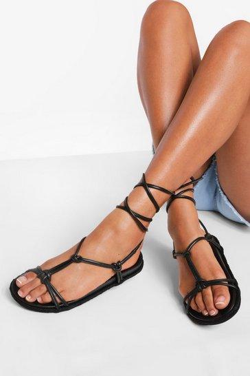 Black Leather Knot Detail Wrap Strap Espadrilles
