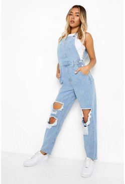Light blue blue Vintage Wash Distressed Straight Leg Dungaree