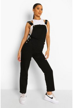 Black Relaxed Straight Leg Dungaree