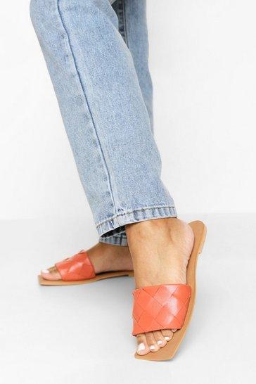 Orange Leather Woven Strap Square Toe Slider
