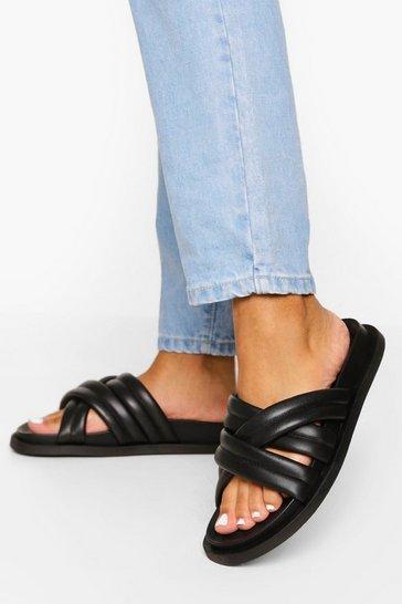 Black Leather Multi Strap Footbed Slider