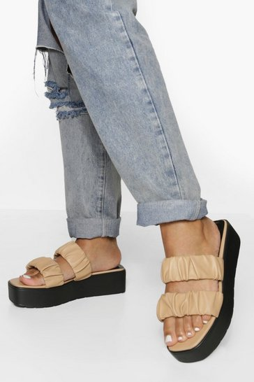 Nude Wide Fit Ruched Double Strap Flatform