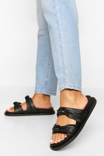 Black Leather Knot Detail Double Strap Footbed Slid