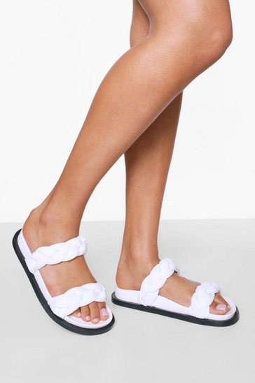 White Leather Woven Double Strap Footbed Slider