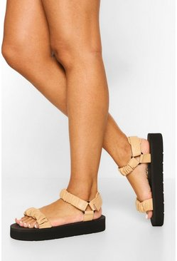 Nude Ruched Trekking Sporty Sandal