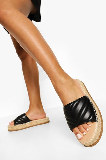 Black Quilted Espadrille Mule